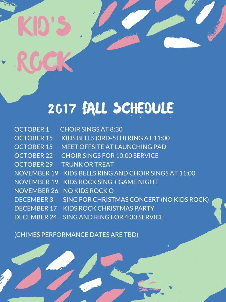 Kids Rock Fall schedule 2017